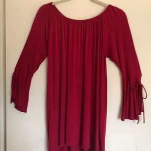 Luxe Red Bell Sleeve Tunic Size Small